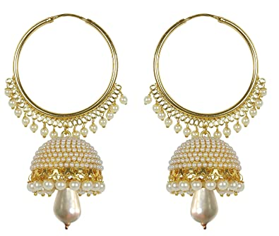 f8365191d Buy Meenaz Jewellery Traditional Gold Plated Pearl Jhumka Jhumki Earrings  For Women & Girls- Jhumki-J148 Online at Low Prices in India | Amazon  Jewellery ...