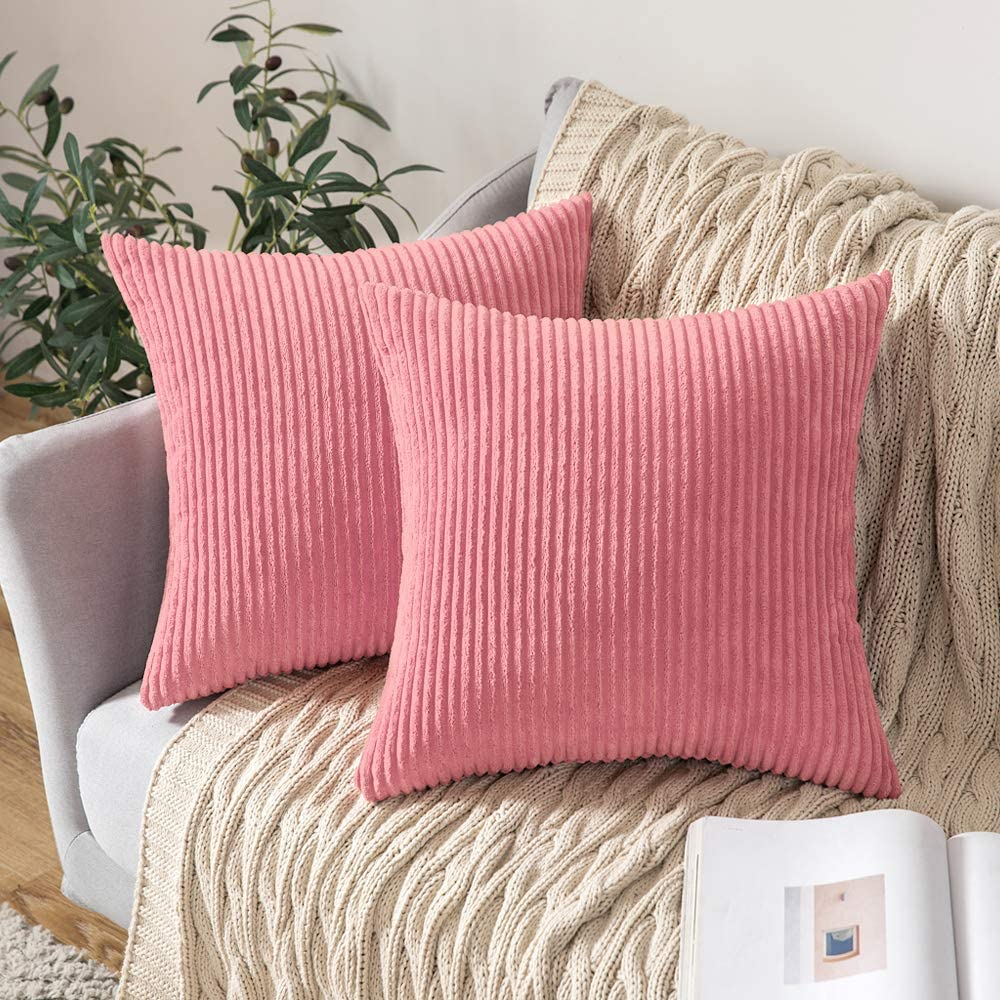 MIULEE Decorative Throw Pillow Covers Pack of 2 Corduroy Soft Soild Pillow Cases Square Outdoor Pillowcases for Cushion Couch Sofa Bedroom Living Room 18 x 18 Inch, Pearl Peach