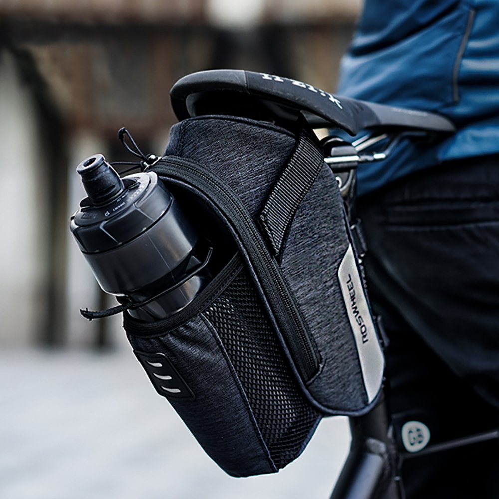 Roswheel Borsa della Sella per Bicicletta Impermeabile Sacchetto Posteriore Telaio da Bici Sedile con Tasca Porta-Borraccia per Ciclismo//MTB//Bici