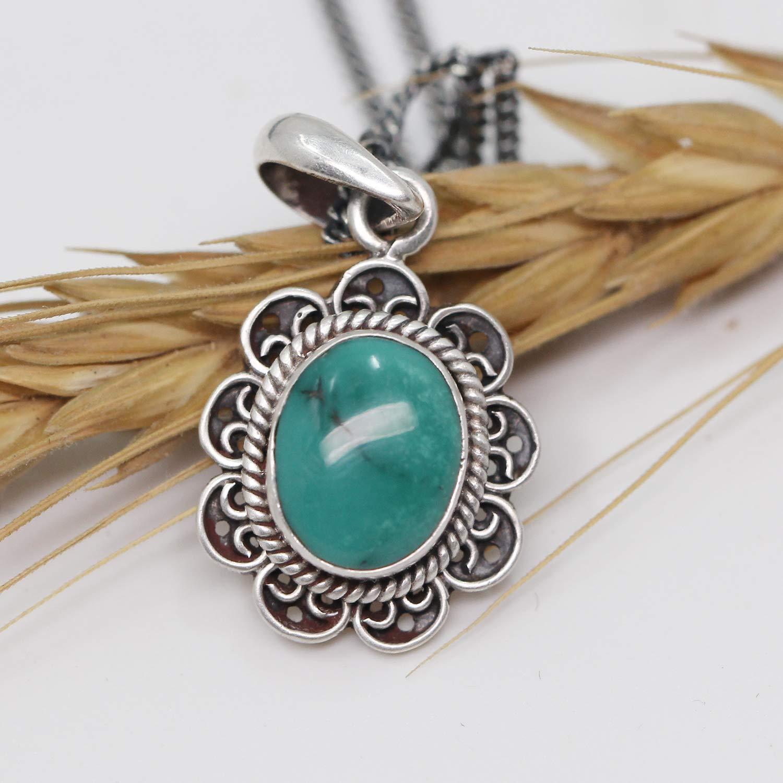 Luna Azure Colored Gem Turquoise Vintage Sterling Silver Pendant Necklace 18