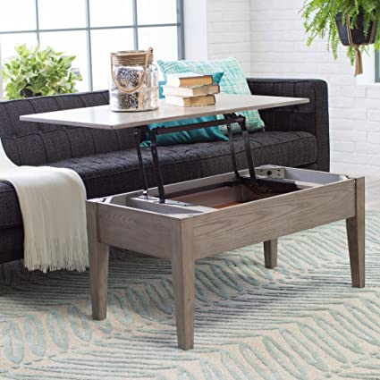 Coffee Tables (Gray) Lift Top Rectangle Wood Cocktail Living Room End Table  Side Modern