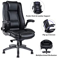 REFICCER Office Chair High Back Leather Executive Computer Desk Chair - Adjustable Tilt Angle and Flip-up Arms Swivel Chair Thick Padding for Comfort and Ergonomic Design for Lumbar Support, Black