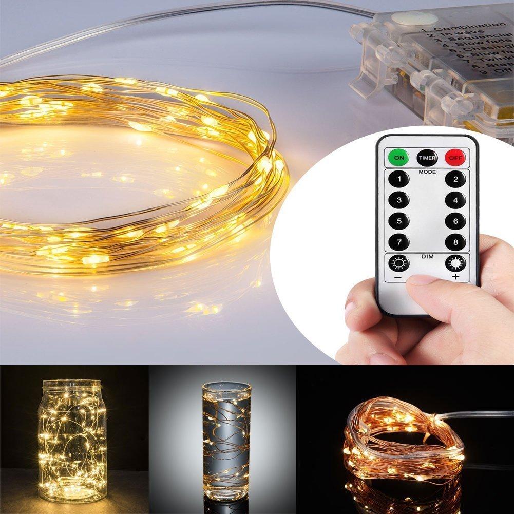 Kohree 60 LEDs Lichterkette Kupferdraht mit Fernbedienung, AA ...