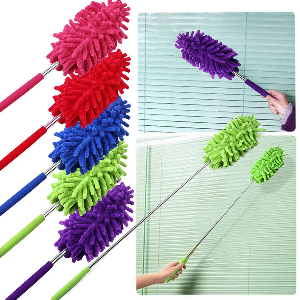 KNDDYY Microfiber Duster, Microfiber Hand Duster Washable Microfibre Cleaning Tool Extendable Dusters (Purple)