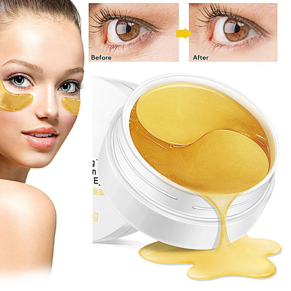 Dr Nezix Or Masque pour les yeux, masque pour les yeux au collagène, tampons pour les yeux en or Anti-vieillissement Correcteurs pour les yeux à l'acide hyaluronique pour anti-vieillissement, cernes et poches, anti-rides, hydratant, blanchissant (30 paires