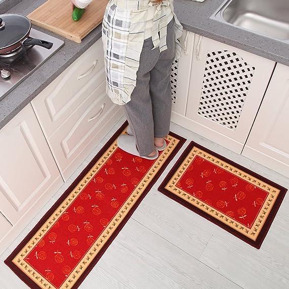 "Carvapet 2 Piece Non-Slip Kitchen Mat Rubber Backing Doorma Red 15/""x47/""+15/""x23/"""