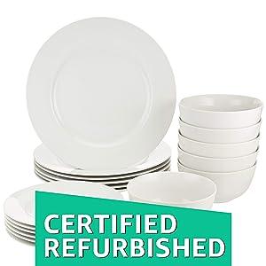 AmazonBasics 18-Piece Dinnerware Set, Service for 6 (Renewed)