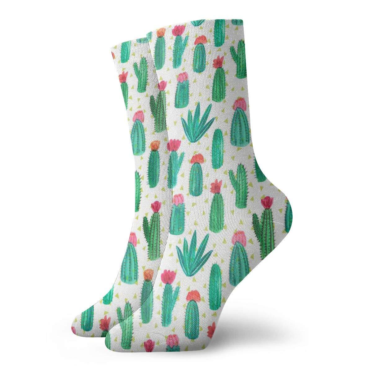 Cactus Pattern Unisex Funny Casual Crew Socks Athletic Socks For Boys Girls Kids Teenagers