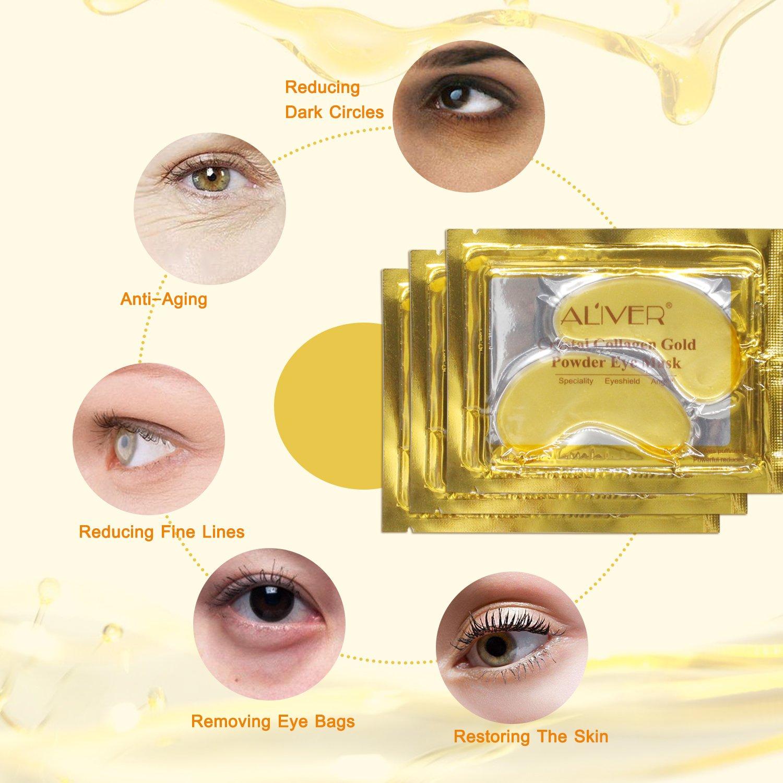 Aliver - Máscara de ojos de colágeno en gel de oro de 24 quilates, antienvejecimiento, antiarrugas, con ácido hialurónico, colágeno, hidratante para debajo ...