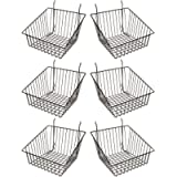 Econoco - Black Multi-Fit Sloped Front Wire Basket for Slatwall, Pegboard or Gridwall (Set of 6) Metal Semi-Gloss Basket…