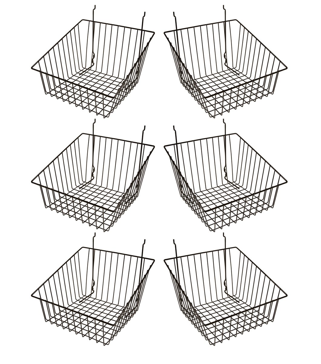 Econoco - Black Multi-Fit Sloped Front Wire Basket for Slatwall, Pegboard or Gridwall (Set of 6) Metal Semi-Gloss Basket, Black