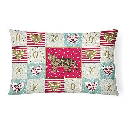 Caroline's Treasures CK5700PW1216 Scottish Straight #2 Cat Love Canvas Fabric Decorative Pillow, 12H x16W, Multicolor : Garden & Outdoor