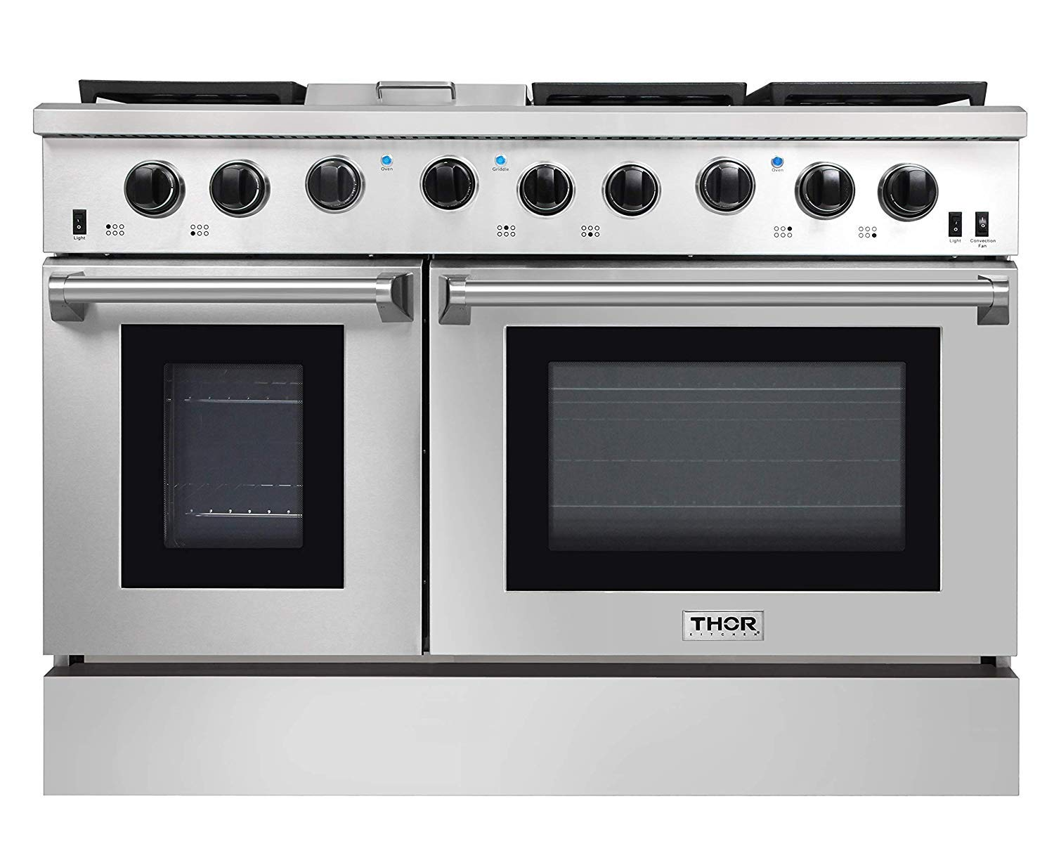 """Thor Kitchen 48"""" Freestanding Professional Gas Range with 6 Burners Cooktop, 1 Griddle and 6.8 cu.ft Oven - Stainless Steel -With LP Conversion Kit"""