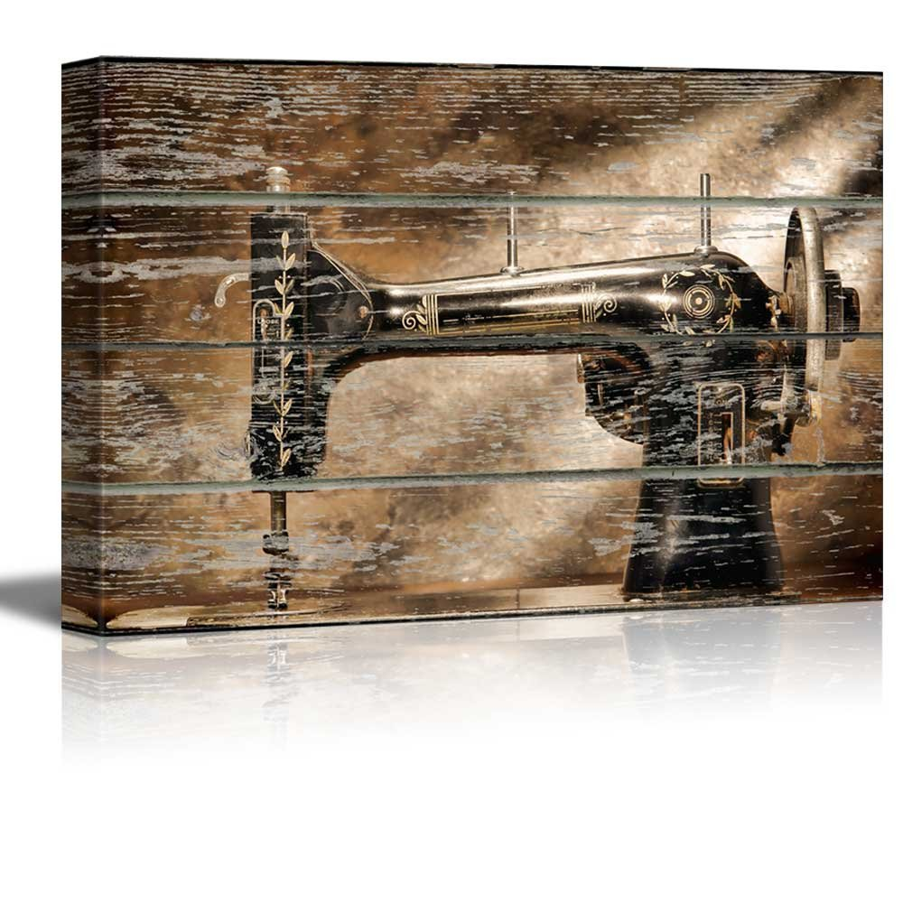 Wonderful Piece, Vintage Sewing Machine on Vintage Wood Textured Background Rustic Country Style, Classic Artwork