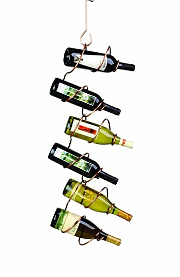 Oenophilia Climbing Tendril Hanging Wine Rack, Copper - 6 Bottle