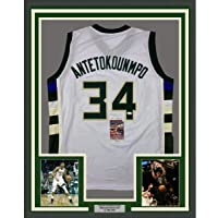 Framed Autographed/Signed Giannis Antetokounmpo 33x42 Milwaukee White Basketball Jersey JSA COA photo