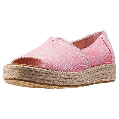 1388c1f9e06 TOMS Women s Open Toe Platform Alpargata Coral Washed Twill 5 ...