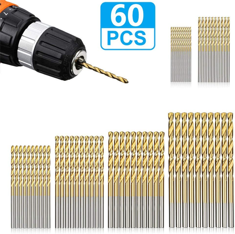 Plastic Aluminum Alloy 1 mm to 3.5 mm Micro Titanium Jobber HSS Twist Drill Bits for Wood LudoPam Drill Bit Set 120 Pcs Soft Metal