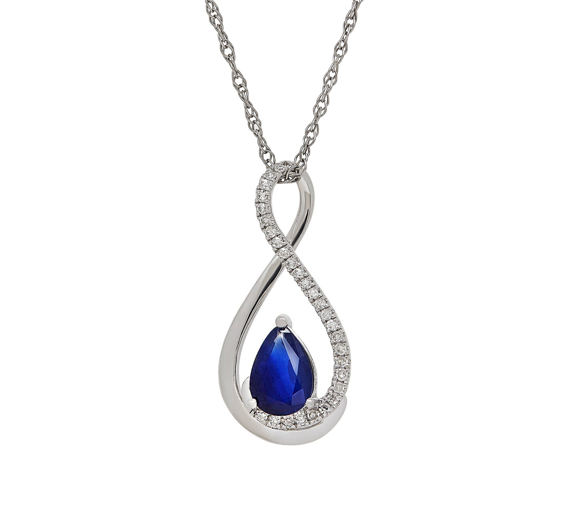 Fine Jewelry 10k White Gold Blue Sapphire Pendant Necklace with 0.08 ct. t.w. Diamond Accent