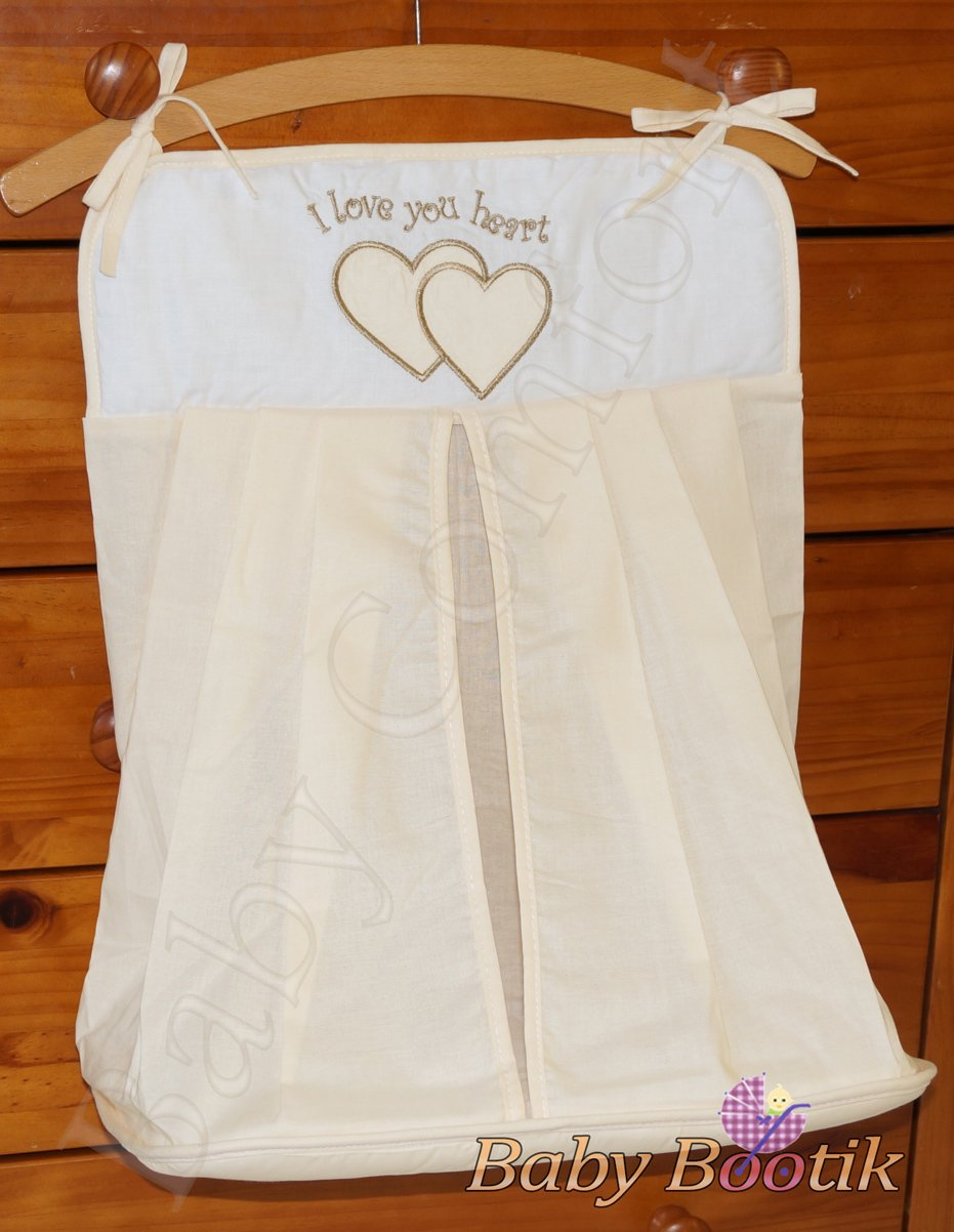 Nappy Stacker/Diaper Bag Match Baby Nursery COT or COT BED LOVE YOU HEART - EMBROIDERY CREAM Babycomfort