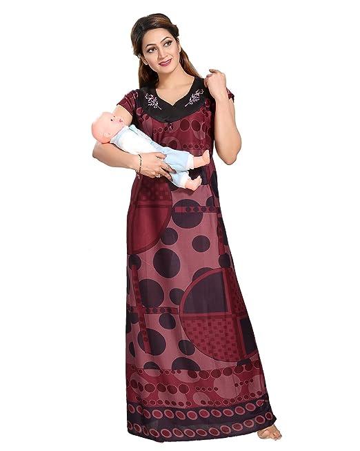 Be You serena satén granate estampado geométrico mujeres embarazadas / camisón de maternidad