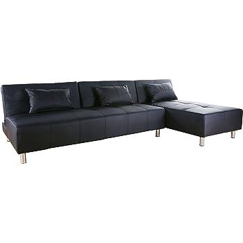 Beau Gold Sparrow Atlanta Convertible Sectional Sofa Bed, Black