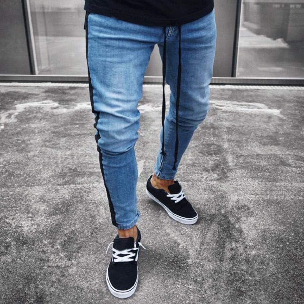 QUICKLYLy Pantalones Vaqueros Hombre Rotos Pitillo Elasticos Skinny Ajustados Trekking Casual Chandal Monta/ña Moto Slim Fit Modernos Chaqueta,Mezclilla Jeans Cremallera DesgastadaS-3XL