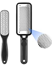 Geecol Pack of 2 Foot File, Premium Stainless Steel Foot Rasp File Callus Remover Professional Foot Scrubber - Colossal Foot Rasp and Dual Sided Foot File, Black