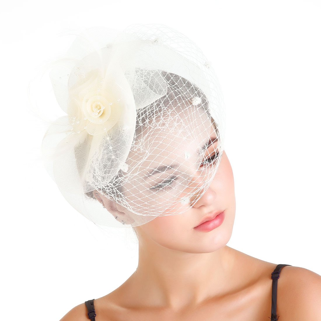 Fascinaor Hair Clip Feather Veil Wedding Party Hat (Ivory)