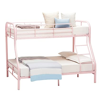 Mecor Twin Over Full Metal Bunk Beds Sturdy Metal Frame With Inclined Ladder Safety Rails For Kids Adult Children Pink