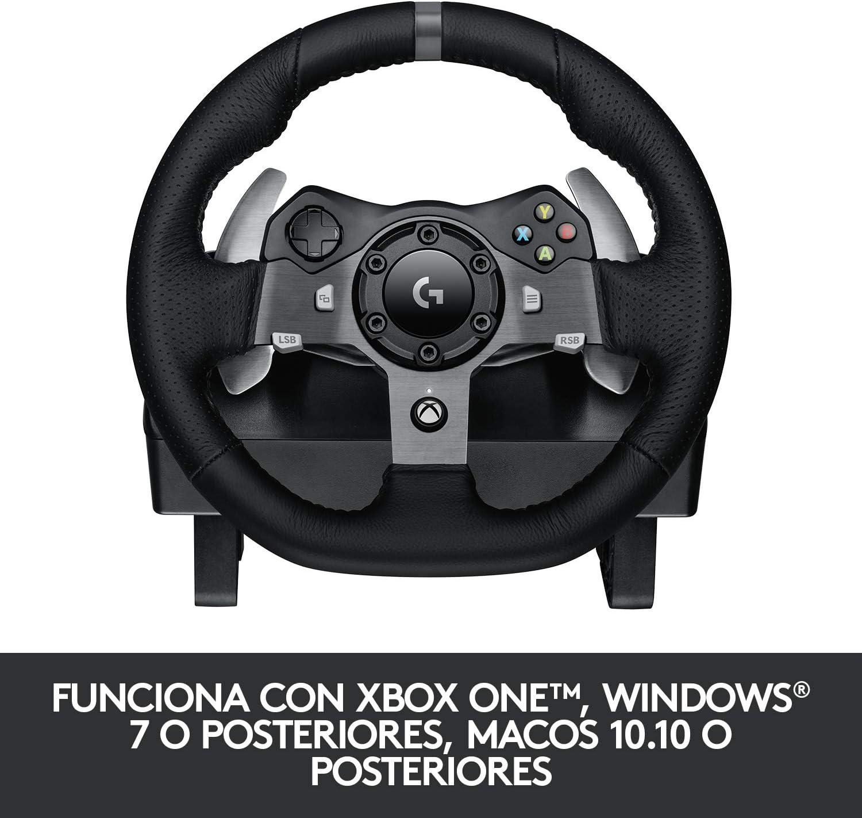 Logitech G920 Driving Force Volante de Carreras y Pedales, Force Feedback, Aluminio Anodizado, Volante de Cuero, Pedales Ajustables, Enchufe EU, Xbox One/PC/Mac, Negro: Amazon.es: Informática
