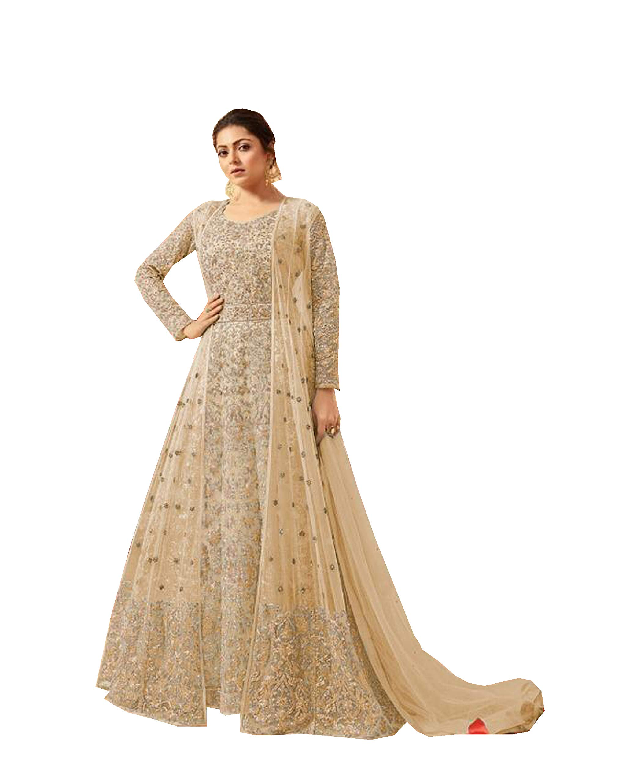 Delisa Indian/Pakistani Bollywood Party Wear Long Anarkali Gown for Womens LT New (Yellow, X-LARGE-44)