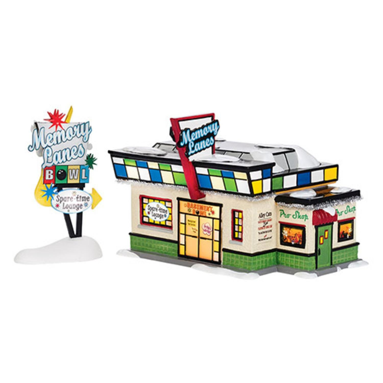 Department 56 Snow Village ''Memory Lanes Bowling'' Lighted Building Set #4036567