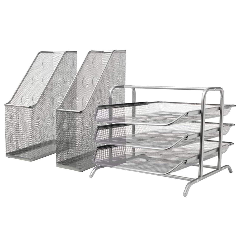 Ikea DOKUMENT Combo Stehsammler + Briefablage Silber Farbe Stahl Draht Mesh Epoxy Polyester Pulverbeschichtung