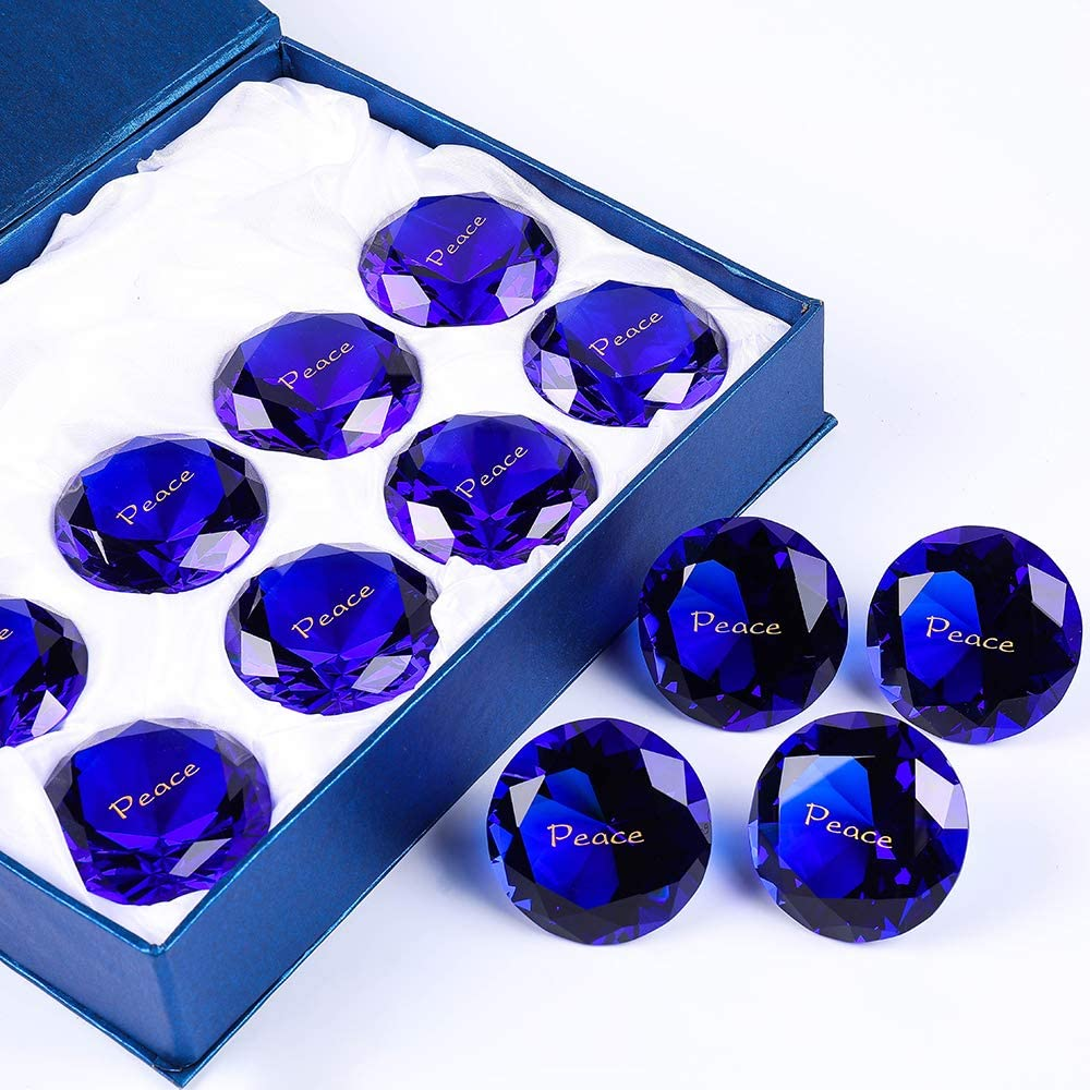 "12PCS Peace RockImpact 60mm (2.5"") Extra-Large Engraved Sapphire Blue Crystal Diamond Home Décor, Prism Suncatcher Rainbow Maker, Wedding Table Decoration, Paperweight Meditate Glass Crystals"