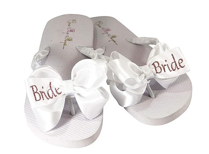 15d06a2d4ef98 Amazon.com: Rose Gold Bride Glitter Bow Flip Flops - choose colors ...