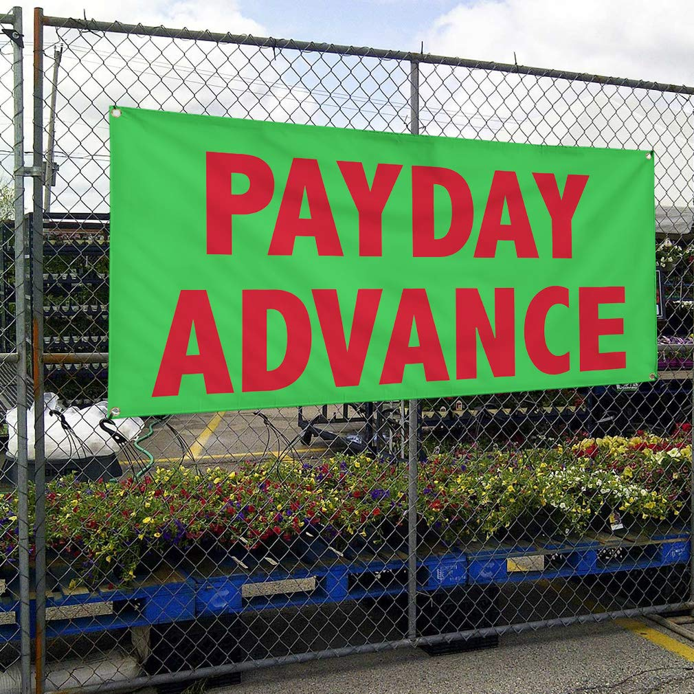 24inx60in Multiple Sizes Available 4 Grommets Vinyl Banner Sign Payday Advance #1 Style B Business Outdoor Marketing Advertising Green Set of 3