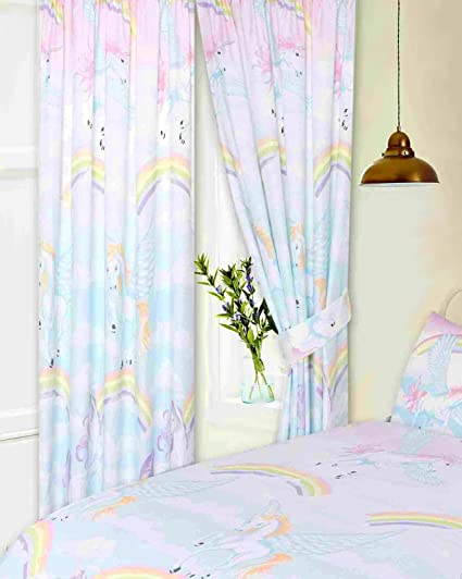 66 X 72 Unicorns Curtains With Tie Backs By My Home Pencil Pleat