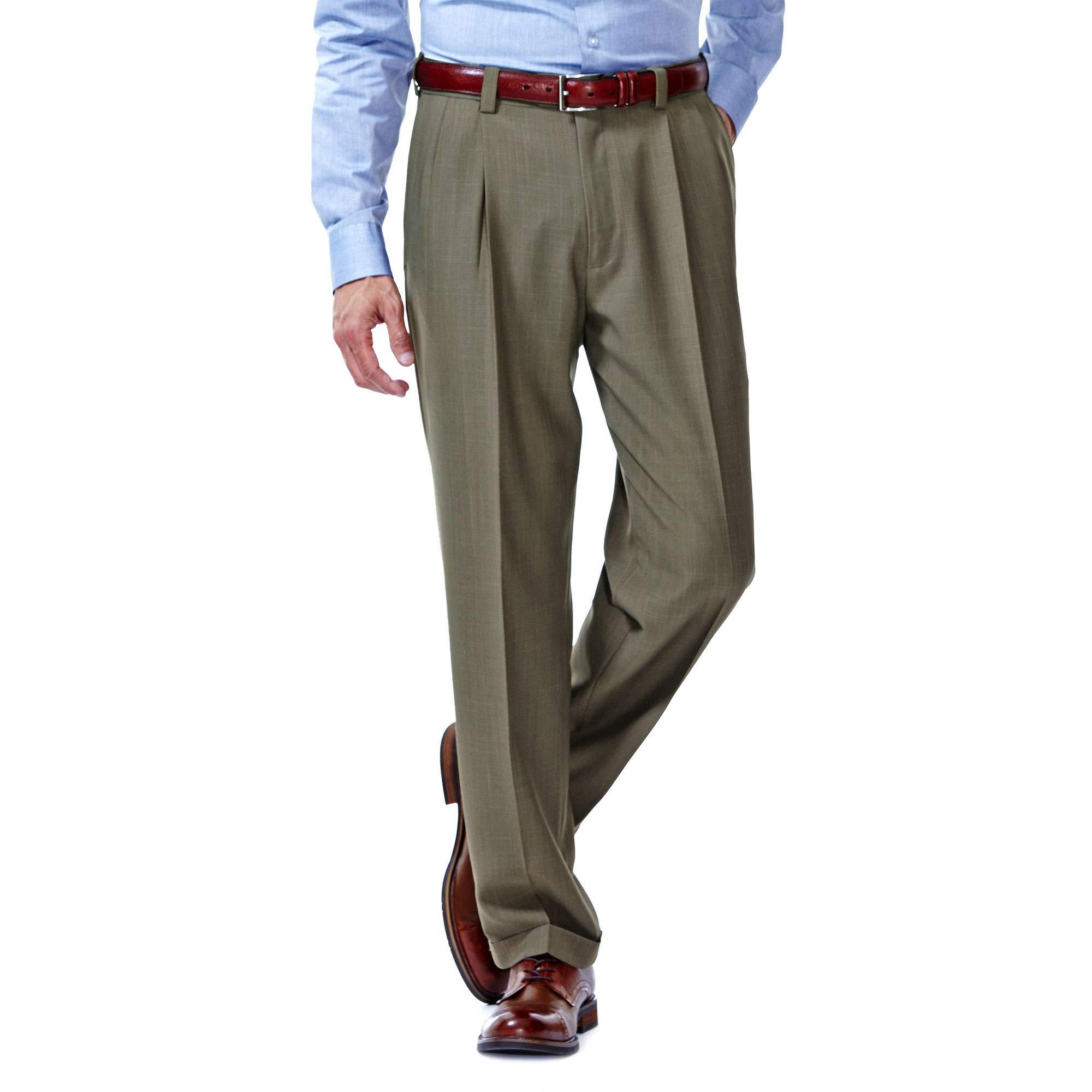 Haggar Men/'s Big /& Tall eCLo Stria Pleat-Front Expandable Waist Dress Pant