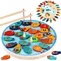 Magnetic Wooden Fishing Game Toy for Toddlers - Alphabet Fish Catching Counting Preschool Board Games Toys for 2 3 4…