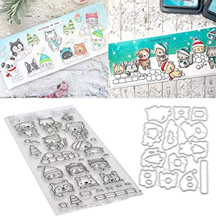 DIY Cutting Dies Stencil+Silicone Seal Scrapbook Paper Cards Embossing Xmas Gift