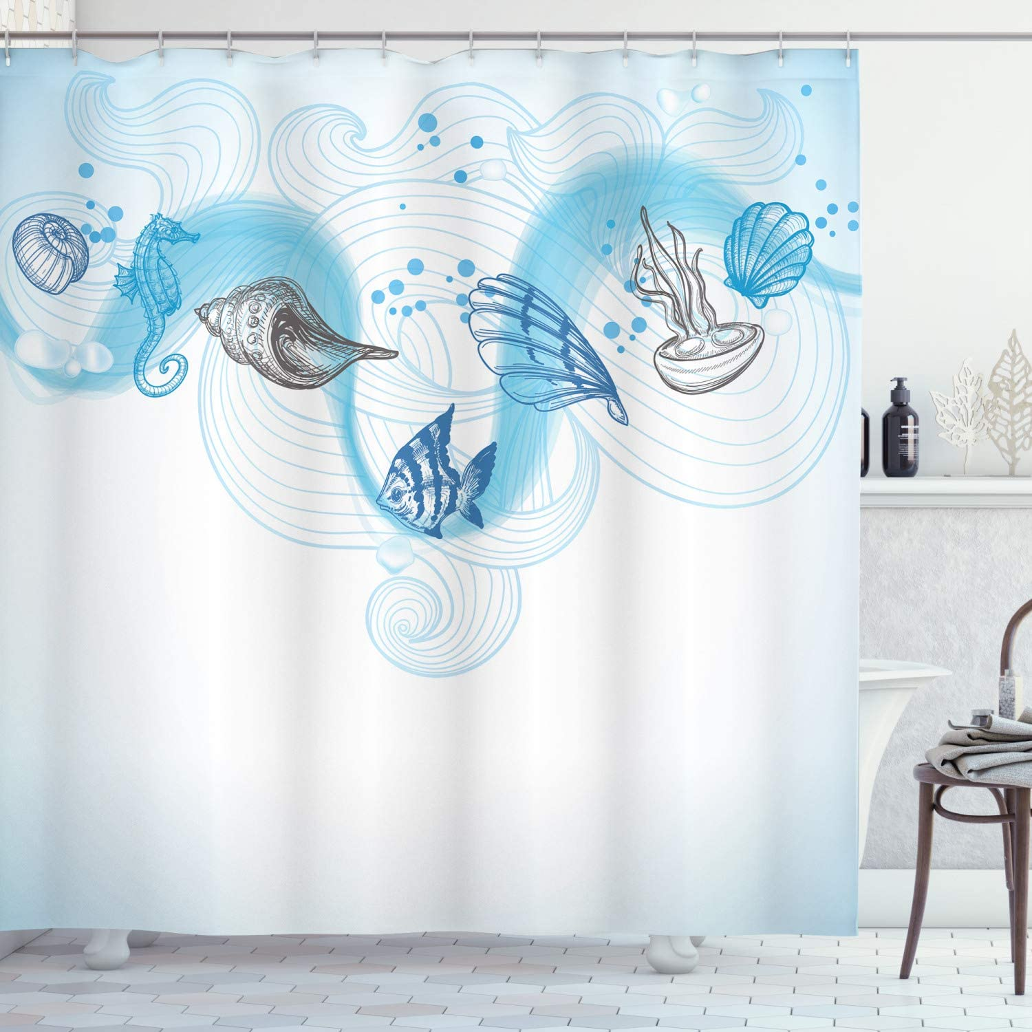 Ambesonne Nautical Shower Curtain, Marine Theme Seashells Ocean Waves Fishes Seahorse Swirls Curves and Bubbles, Cloth Fabric Bathroom Decor Set with Hooks, 70