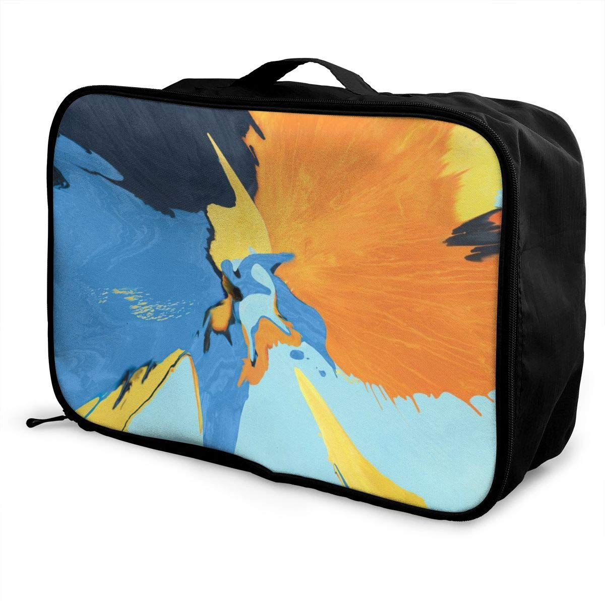 3D Colorful Paint Pigment Splash Travel Lightweight Waterproof Foldable Storage Carry Luggage Duffle Tote Bag Large Capacity In Trolley Handle Bags 6x11x15 Inch