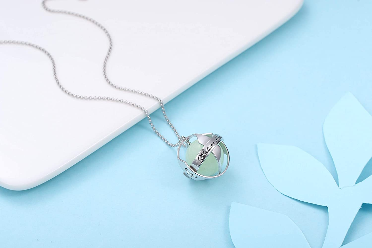 Getname Necklace Luminous Ring Pendant Necklace Fluorescent Necklace Glow in The Dark Pearl Necklace Engraved with Any Name