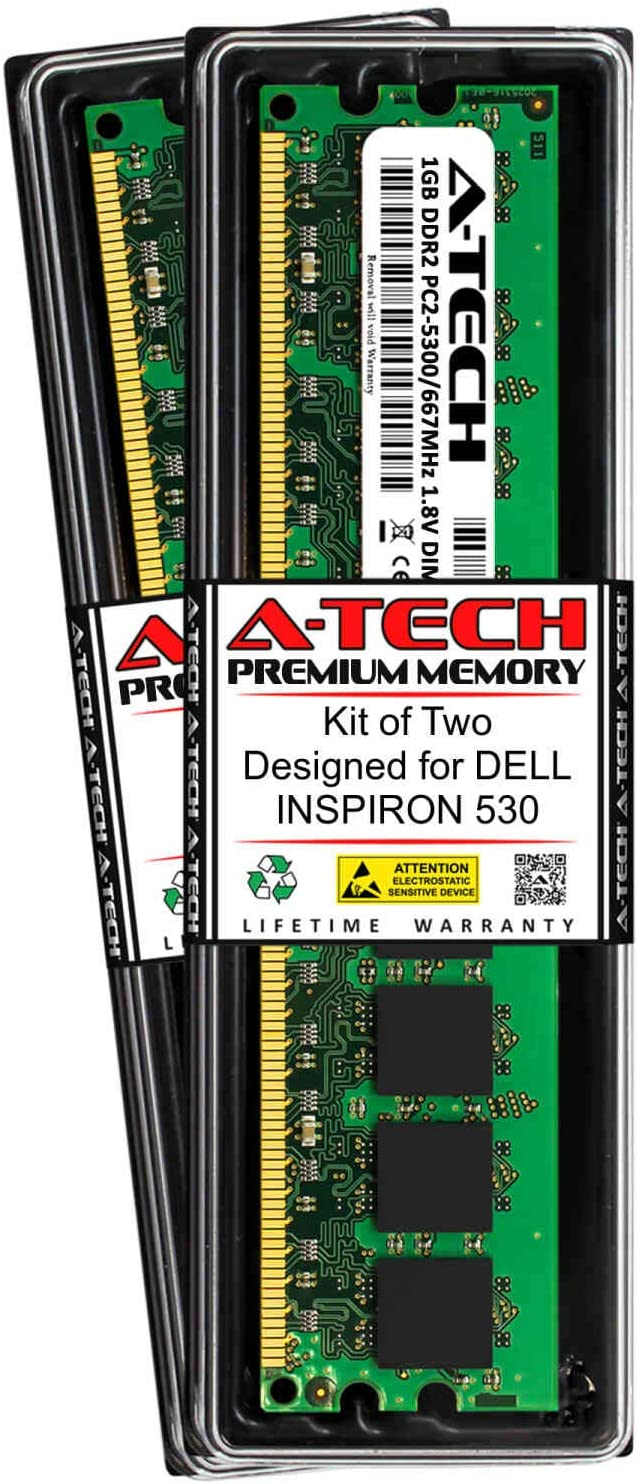 A-Tech 2GB (2 x 1GB) RAM for DELL INSPIRON 530 | DDR2 667MHz DIMM PC2-5300 240-Pin Non-ECC UDIMM Memory Upgrade Kit