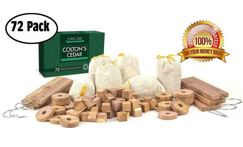 Clothes Protector Cedar Moth Repellent Set Fresh Storage Accessories Blocks, Ring, Hang up (72 Pieces)