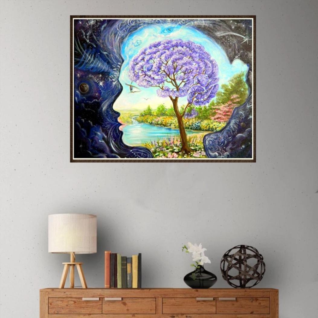 C, 25x25cm FORESTIME 5D DIY Diamond Painting Tree Diamond Painting Cross Stitch Colorful Dream Tree Diamond Drill Rhinestone Home Decoration