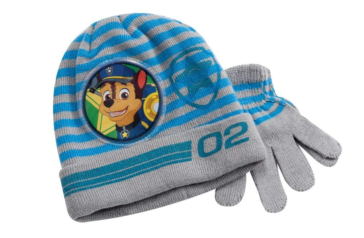 Paw Patrol Knitted Grey Winter Hat & Gloves Set Toddlers Boys One Size YNC