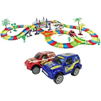 Rose International Kids Fun Car Flexible Variable Track Set 257 Pcs LED Light Battery Operated Racing Game Set