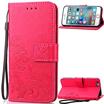 Qiaogle Teléfono Case - Funda de PU Cuero Billetera Clamshell Carcasa Cover para UMI Rome/UMI Rome X (5.5 Pulgadas) - SD01 / Rojo Lucky Clover